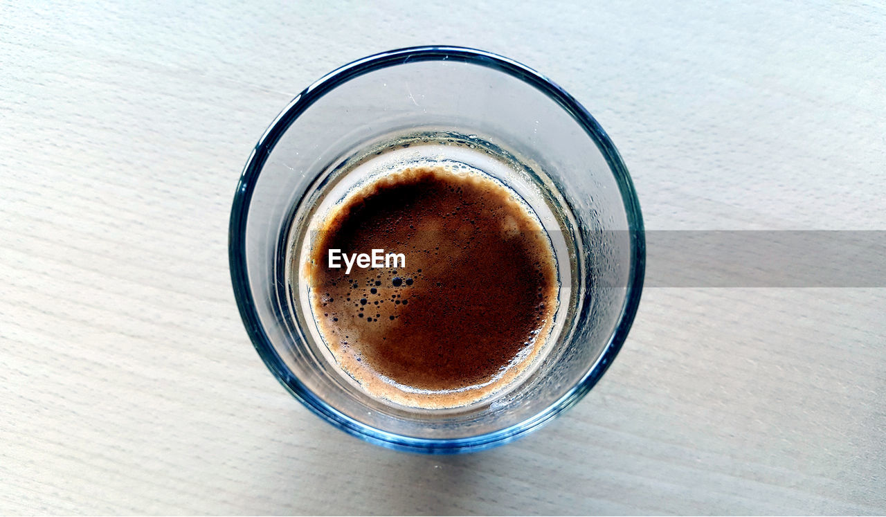 refreshment, drink, food and drink, coffee, coffee - drink, cup, mug, coffee cup, table, still life, freshness, indoors, directly above, close-up, no people, high angle view, frothy drink, glass, drinking glass, crockery, non-alcoholic beverage, froth