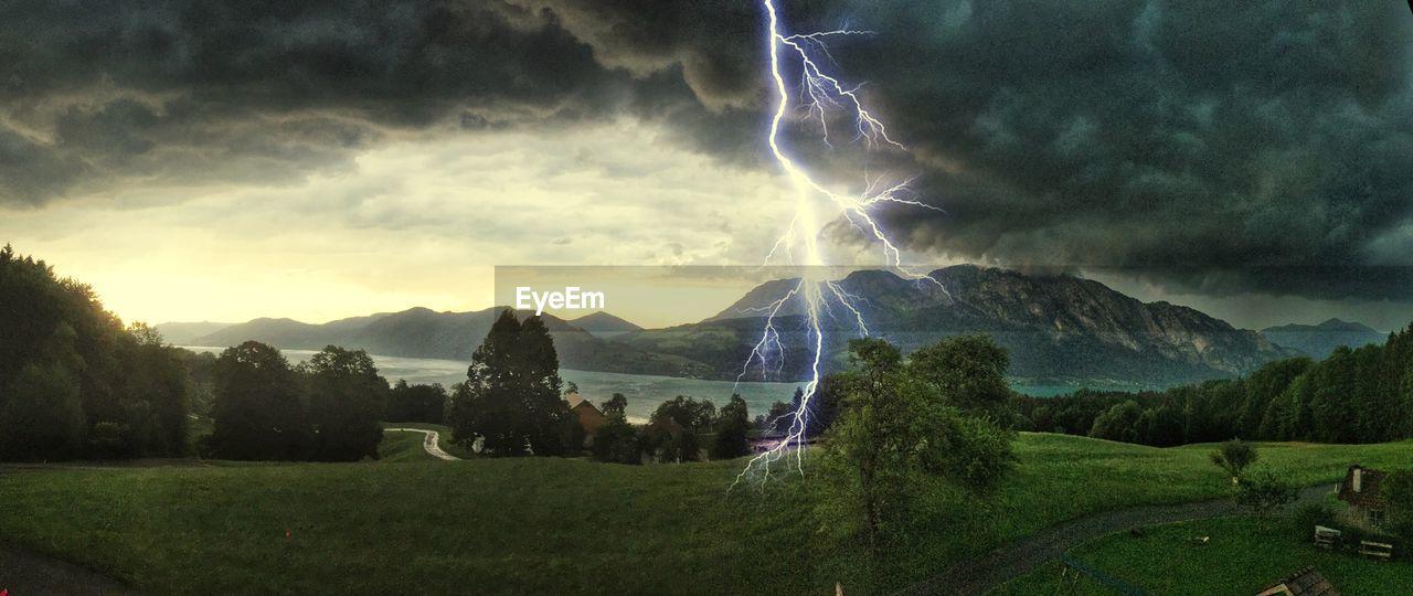 Lightning over field