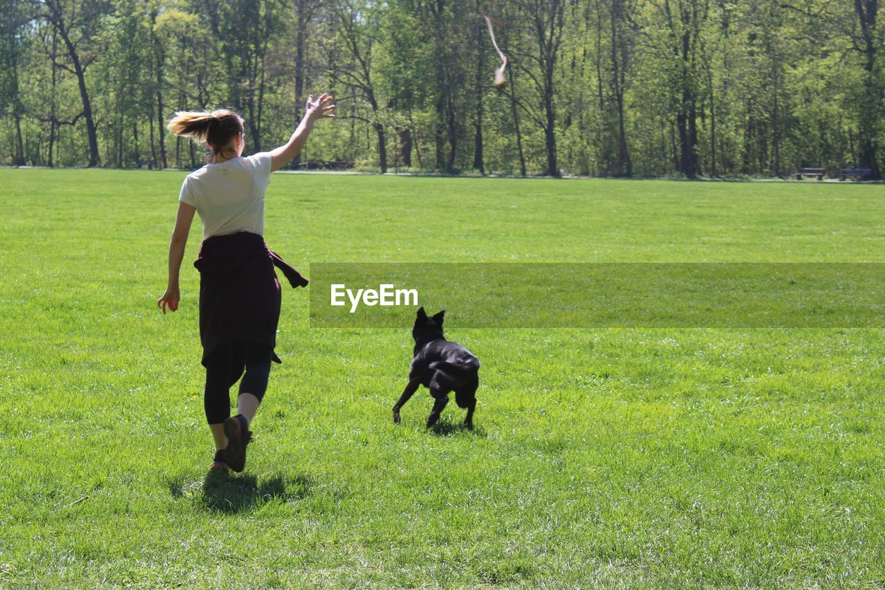 Rear view of a woman and a dog on a field