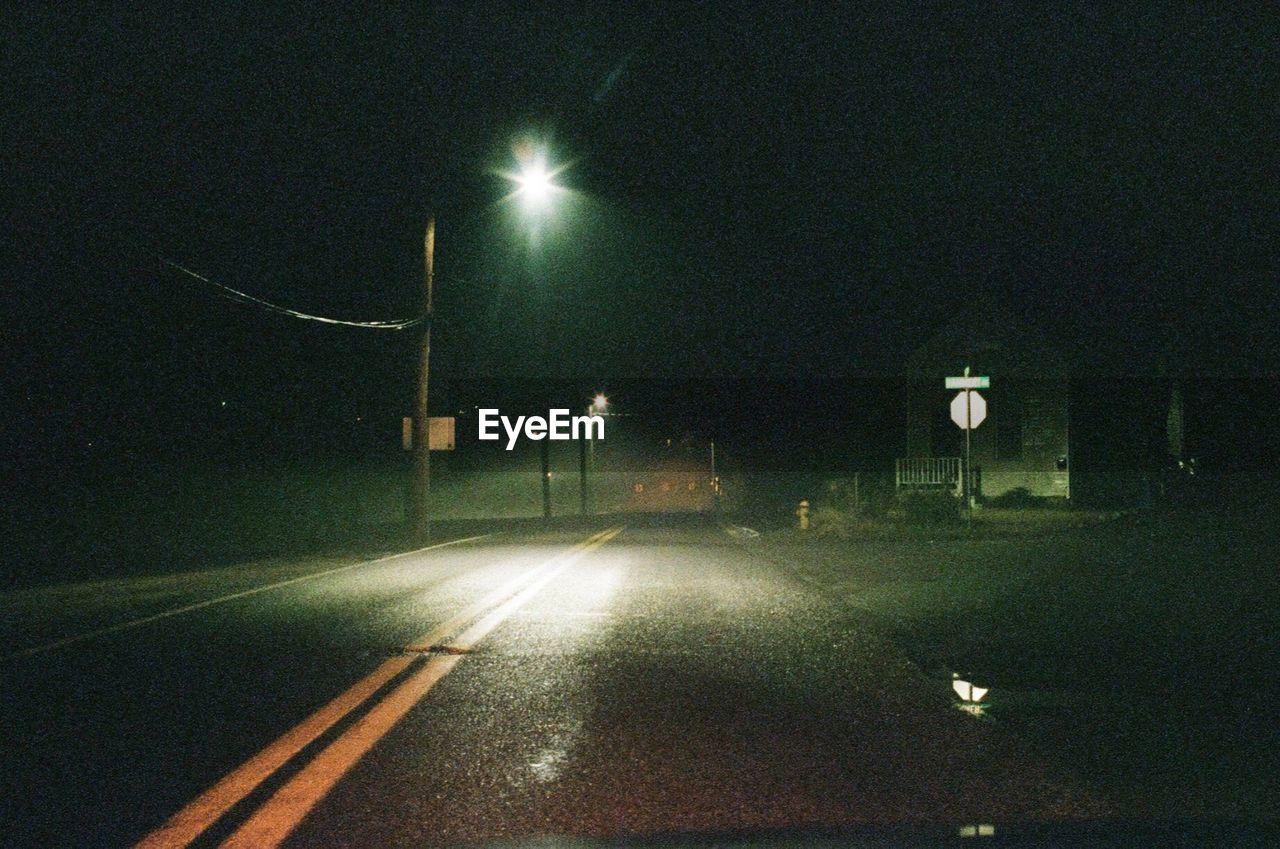 night, illuminated, street light, transportation, road, no people, outdoors, nature