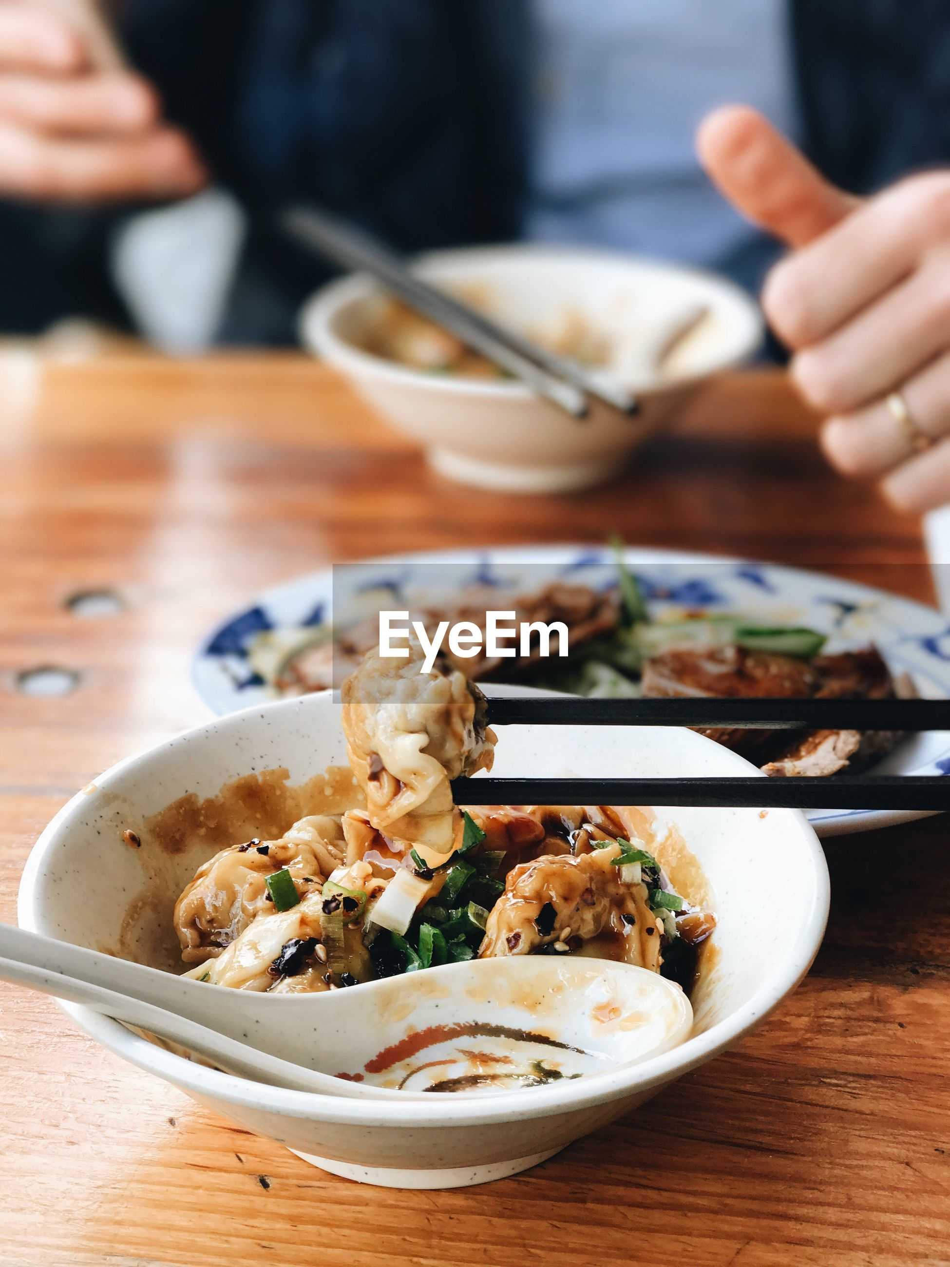 Close-up of japanese food in bowls on table