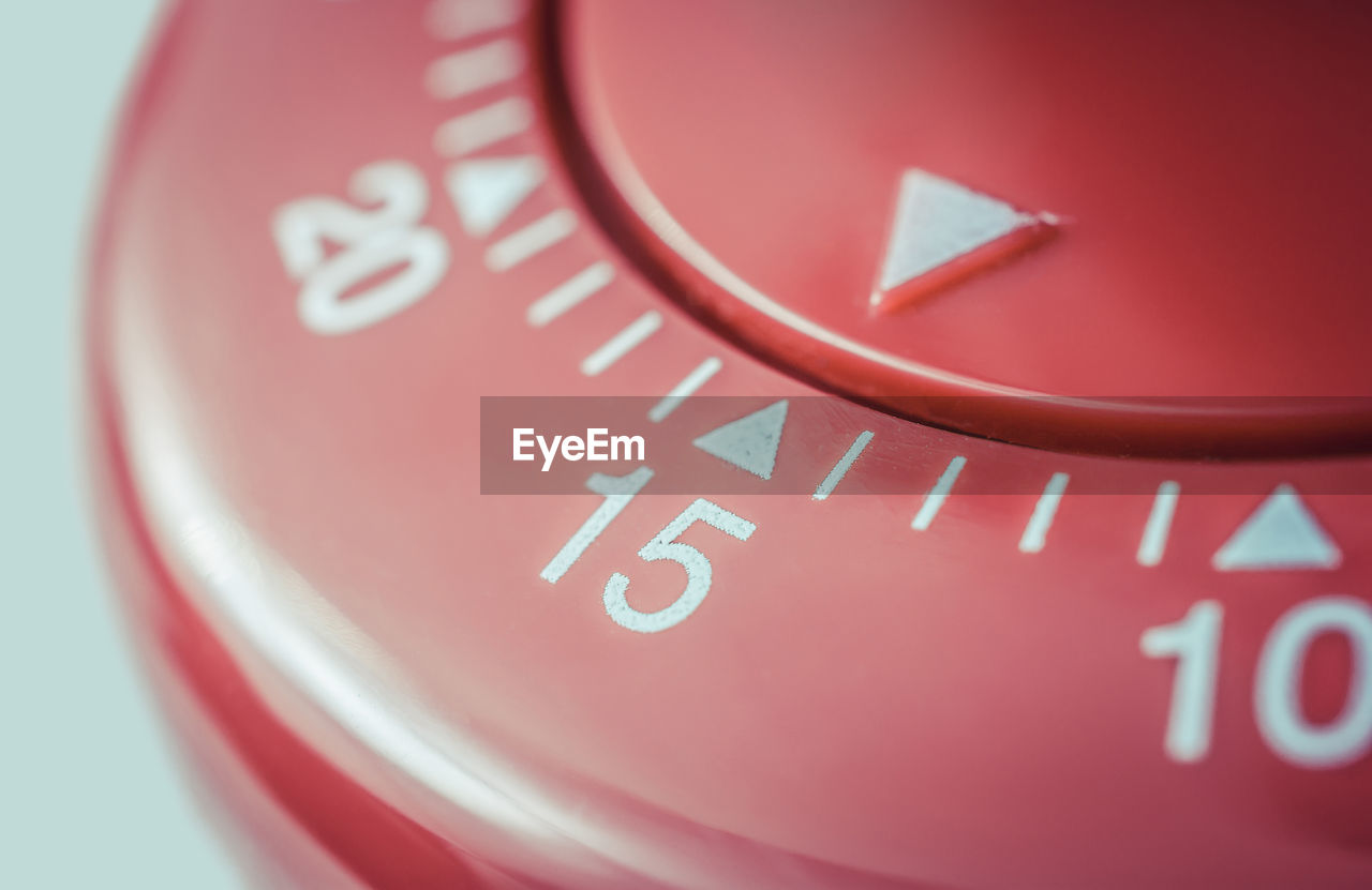 Close-up of red timer
