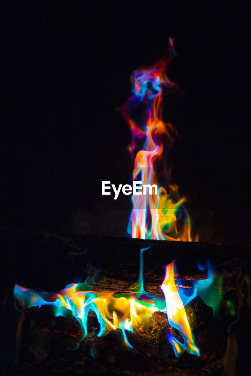 ILLUMINATED FIRE IN THE DARK