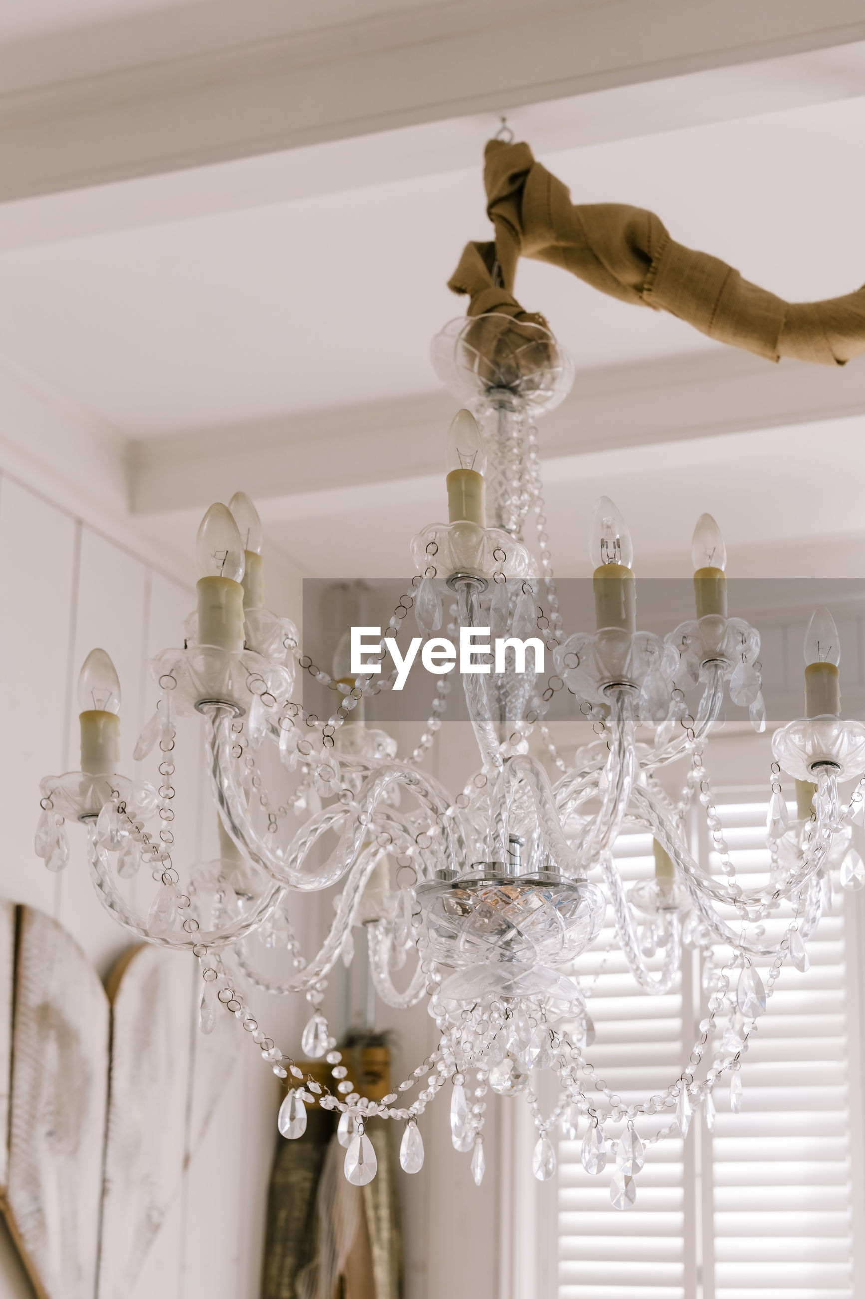 Chandelier hanging from ceiling at home