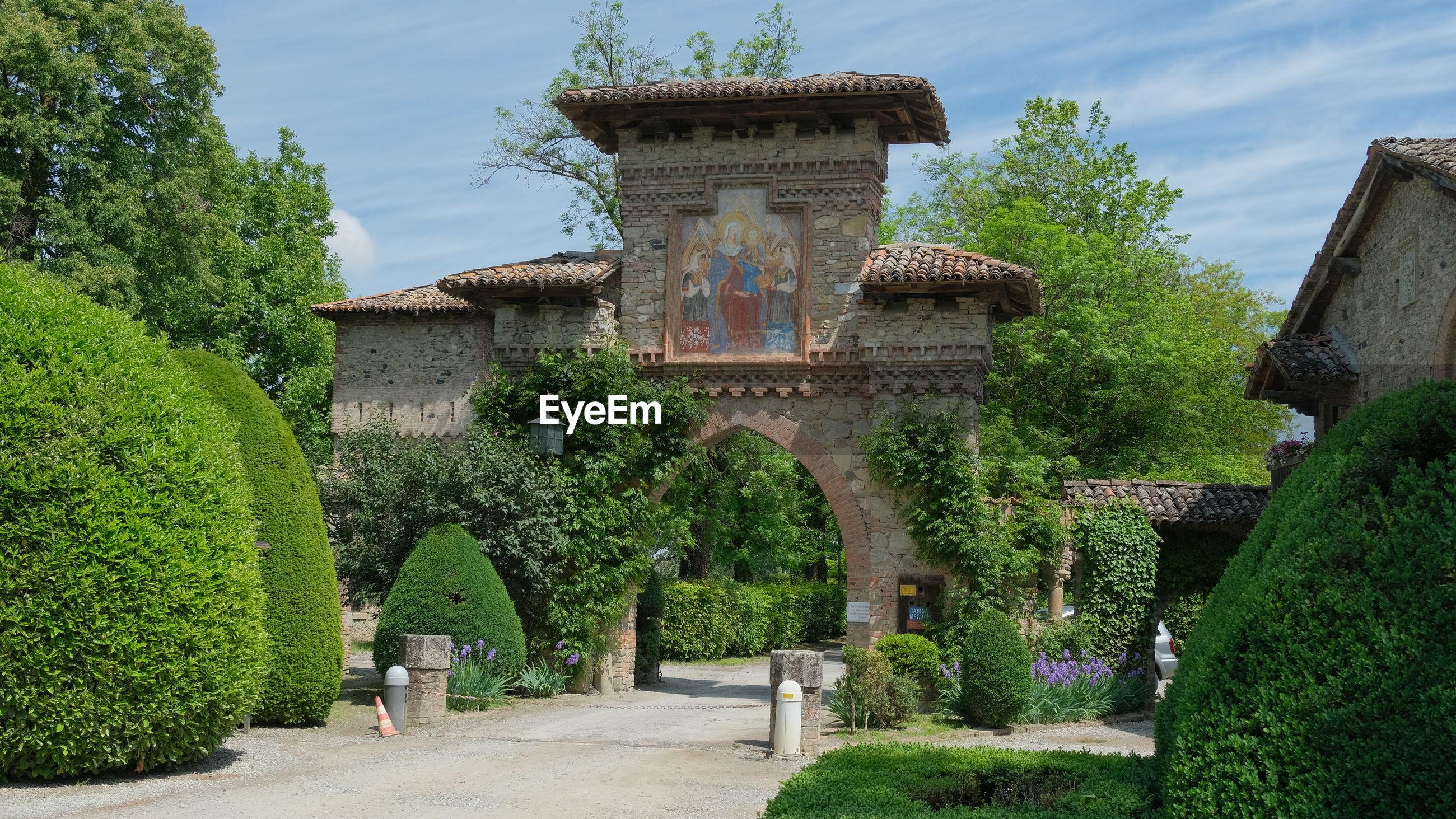 Gate of grazzano visconti neo-medieval village in vigolzone, piacenza, emilia romagna, italy.