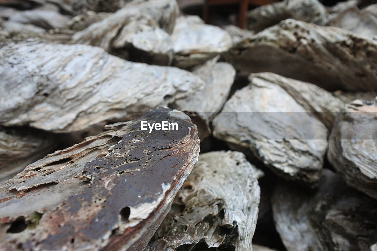 rock, close-up, selective focus, no people, textured, rock - object, nature, solid, wood - material, outdoors, focus on foreground, day, full frame, stack, rough, log, backgrounds, wood, still life, detail
