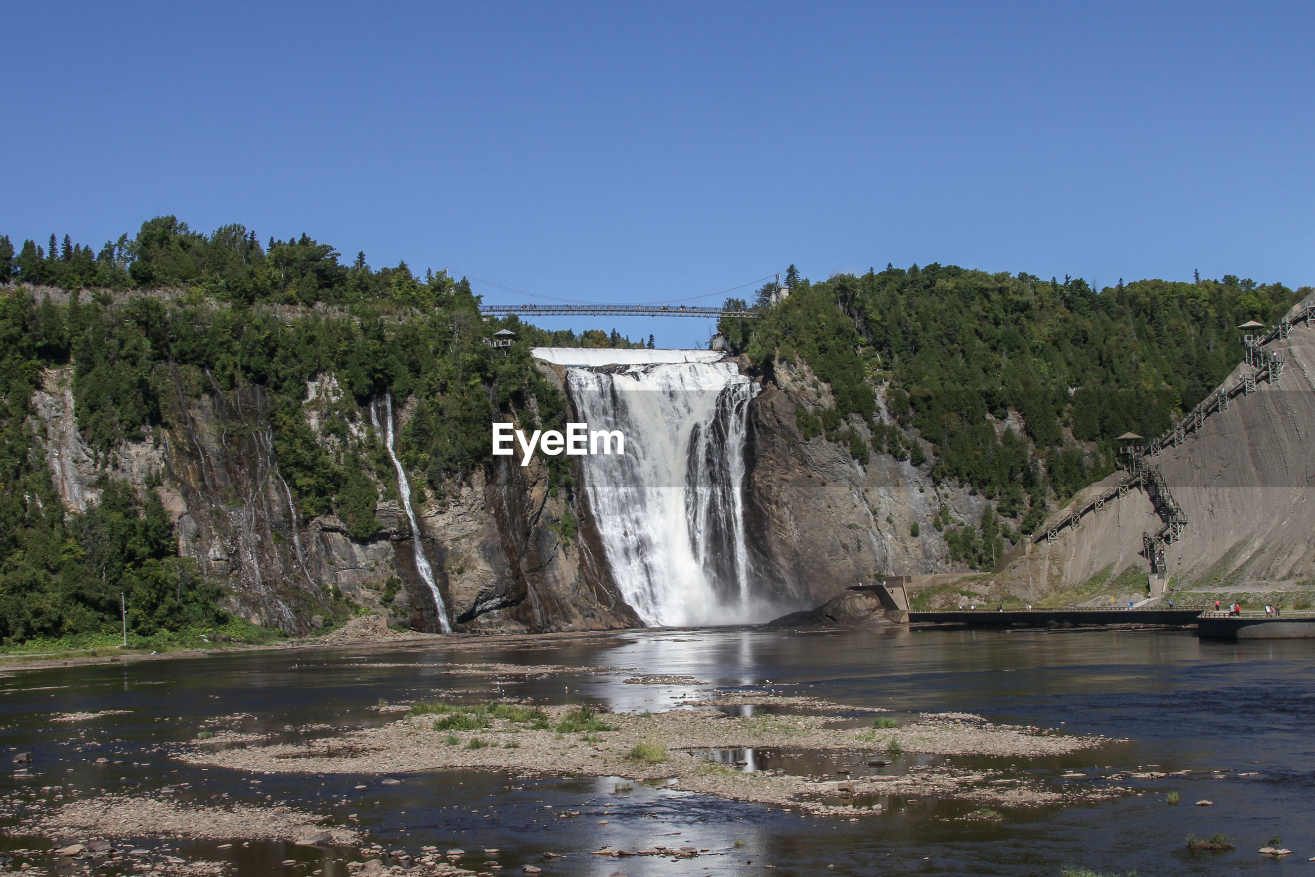 VIEW OF WATERFALL AGAINST CLEAR BLUE SKY