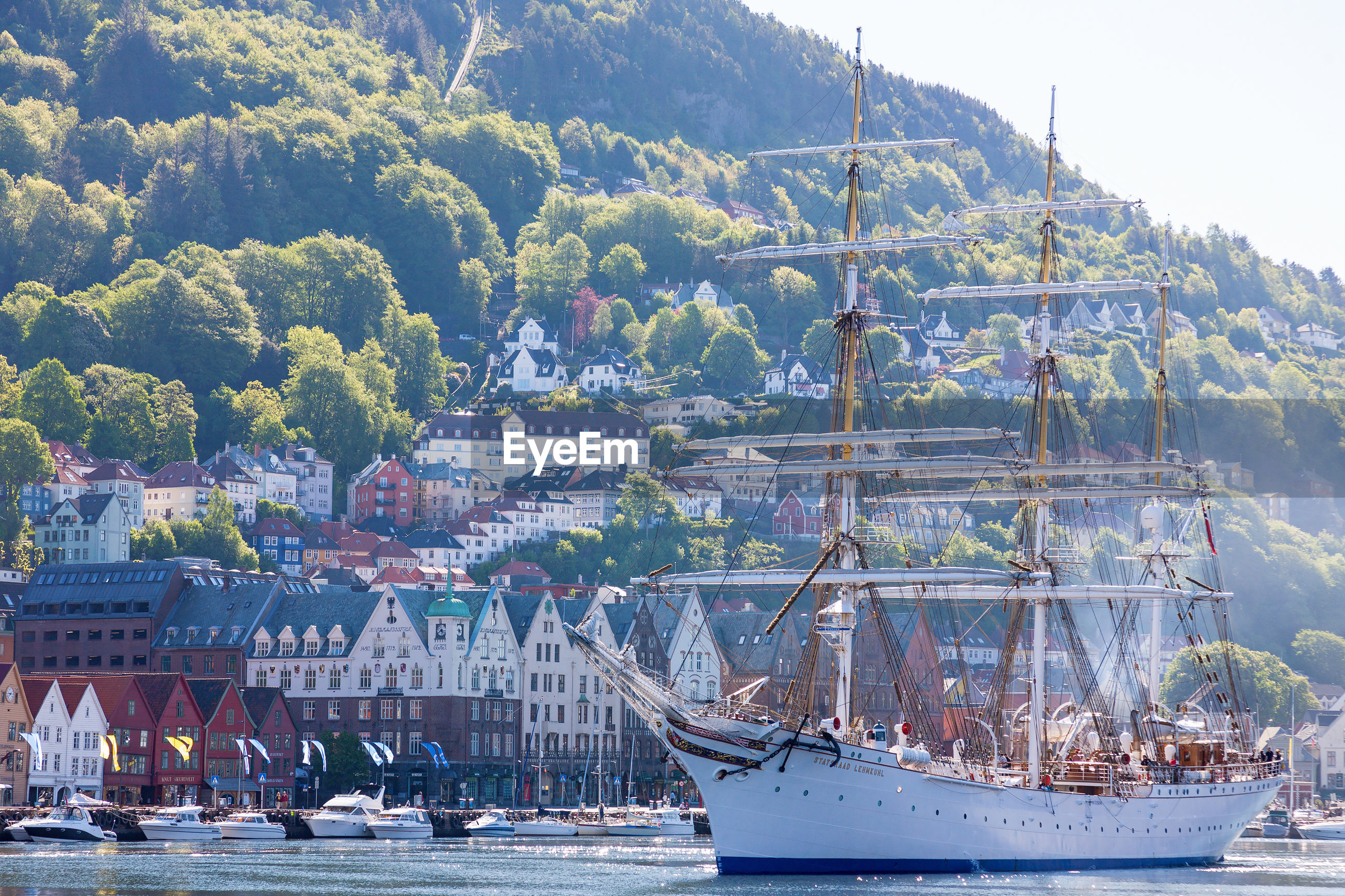 Sailing ship in the harbor at bergen in norway