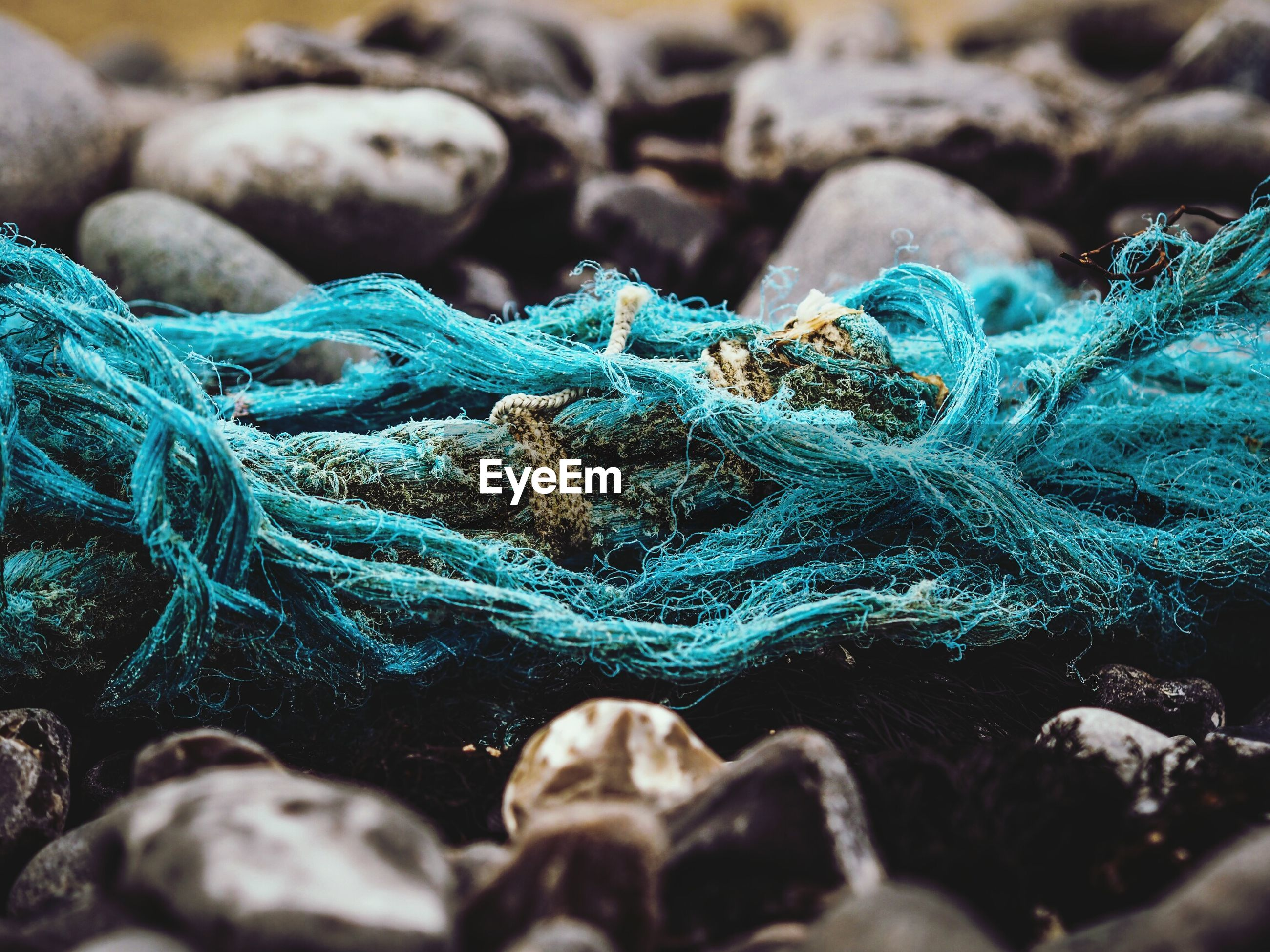 Close-up of fishing net on stones