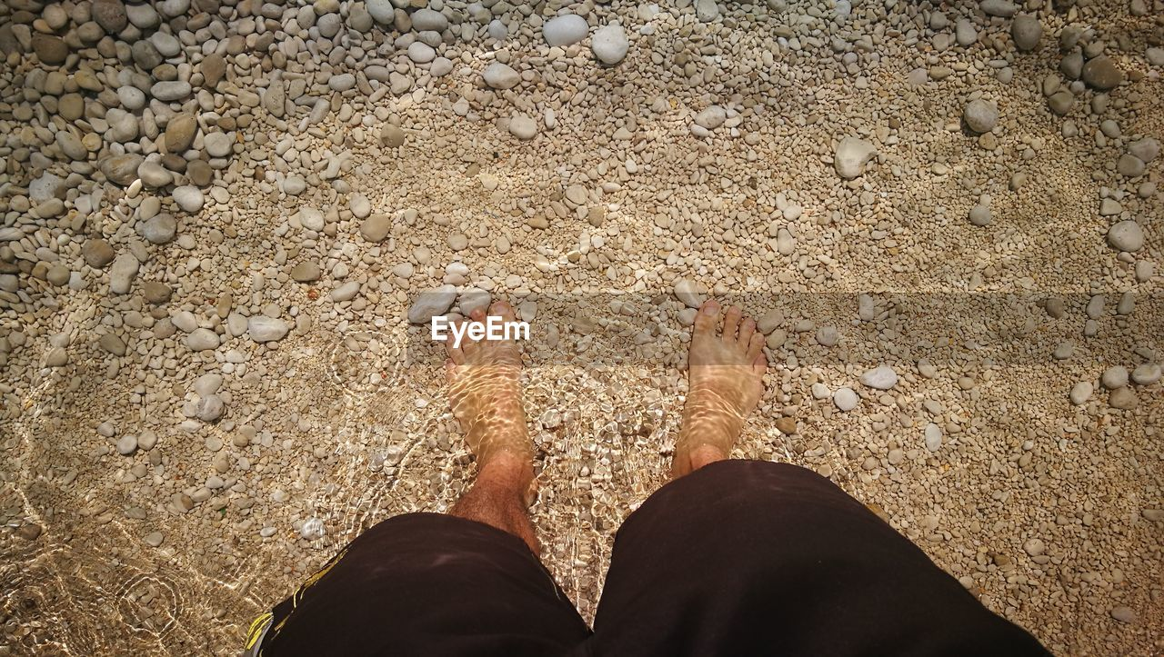 human leg, low section, personal perspective, real people, barefoot, one person, body part, human body part, land, lifestyles, high angle view, leisure activity, day, standing, beach, sand, nature, sunlight, water, human foot, outdoors, pebble, shorts, human limb