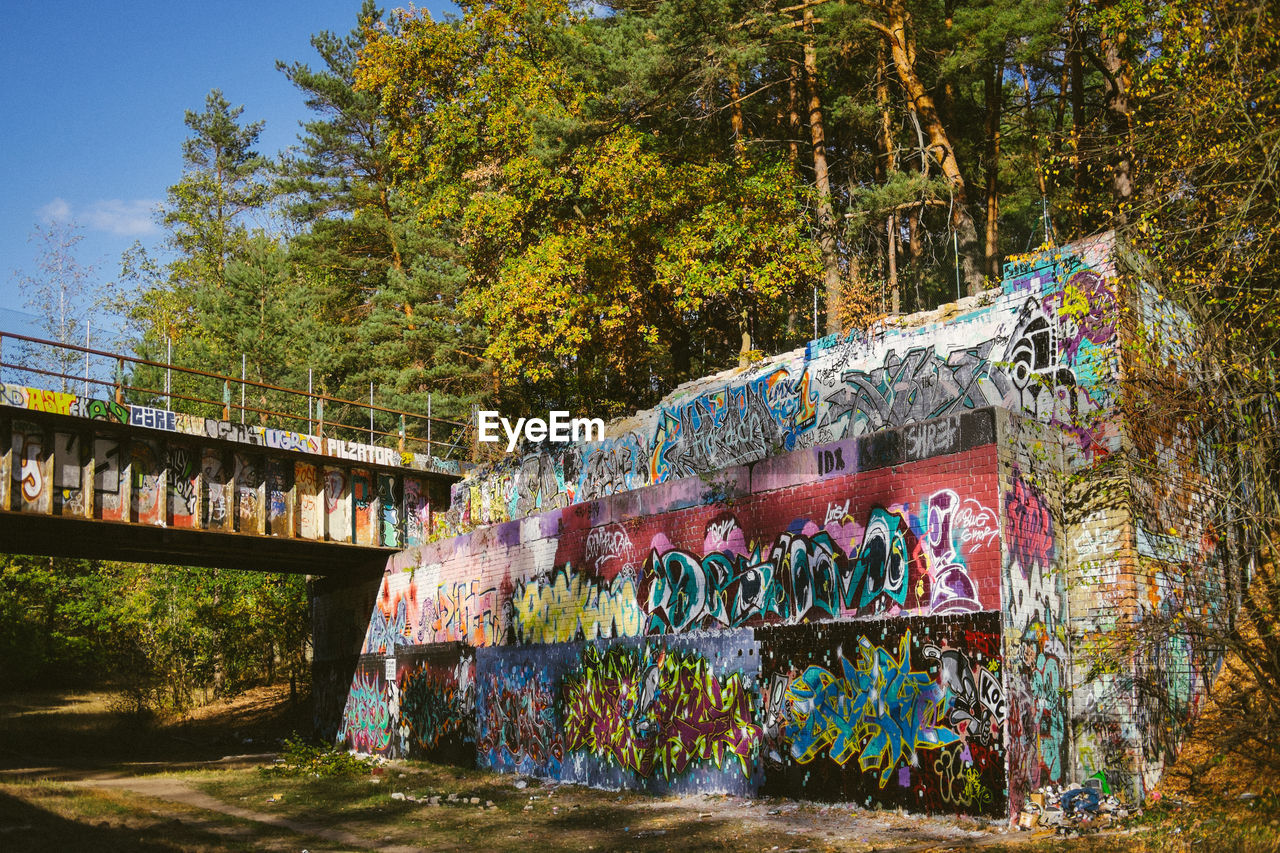tree, architecture, plant, graffiti, creativity, built structure, multi colored, nature, art and craft, day, outdoors, no people, bridge, water, connection, street art, building exterior, motion, bridge - man made structure