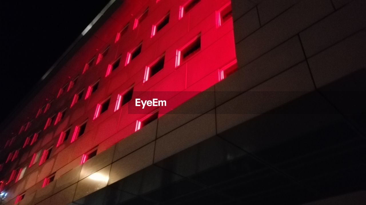 red, night, architecture, no people, building exterior, built structure, illuminated, modern, indoors, close-up