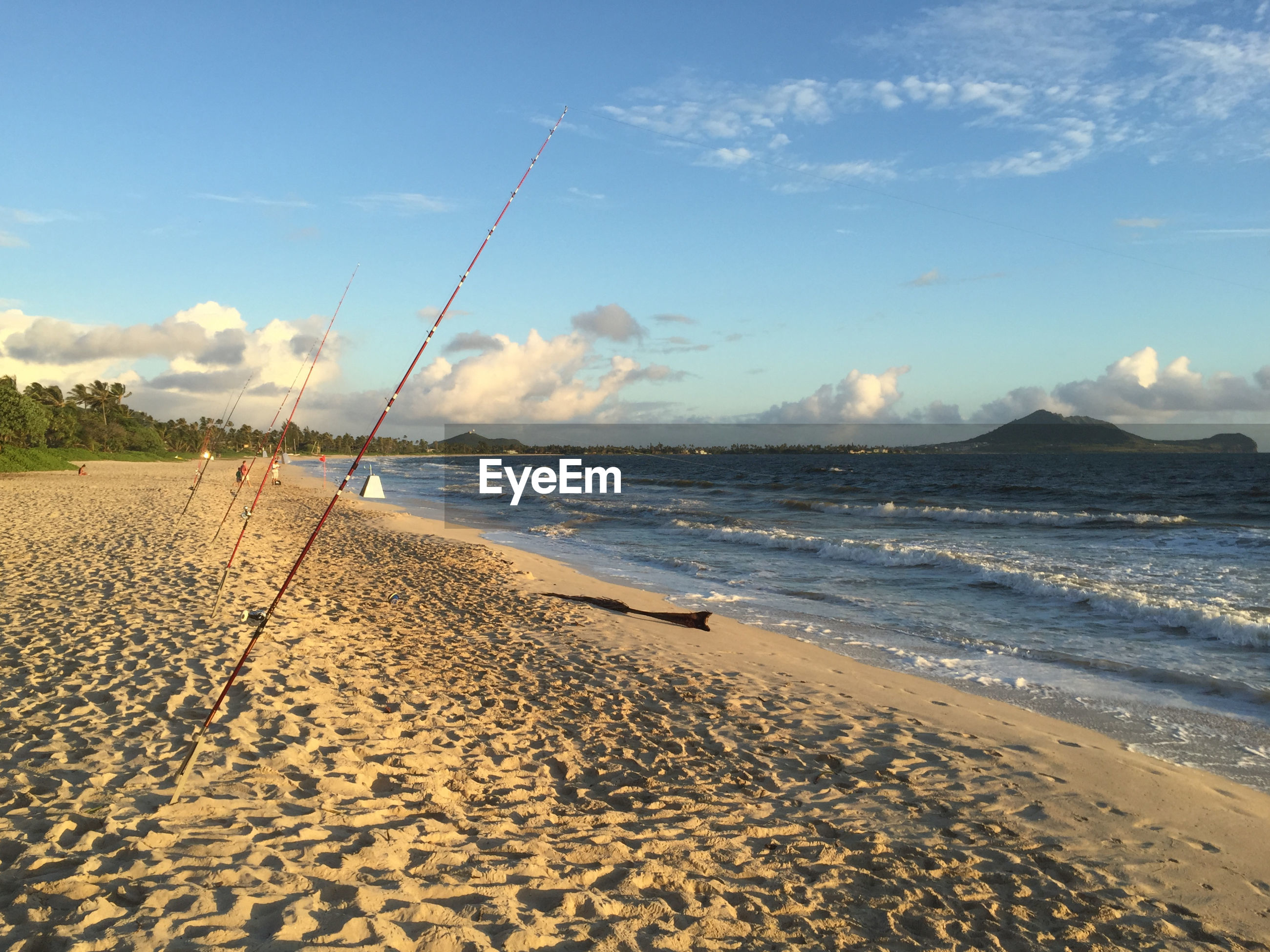 Fishing rods on beach against sky