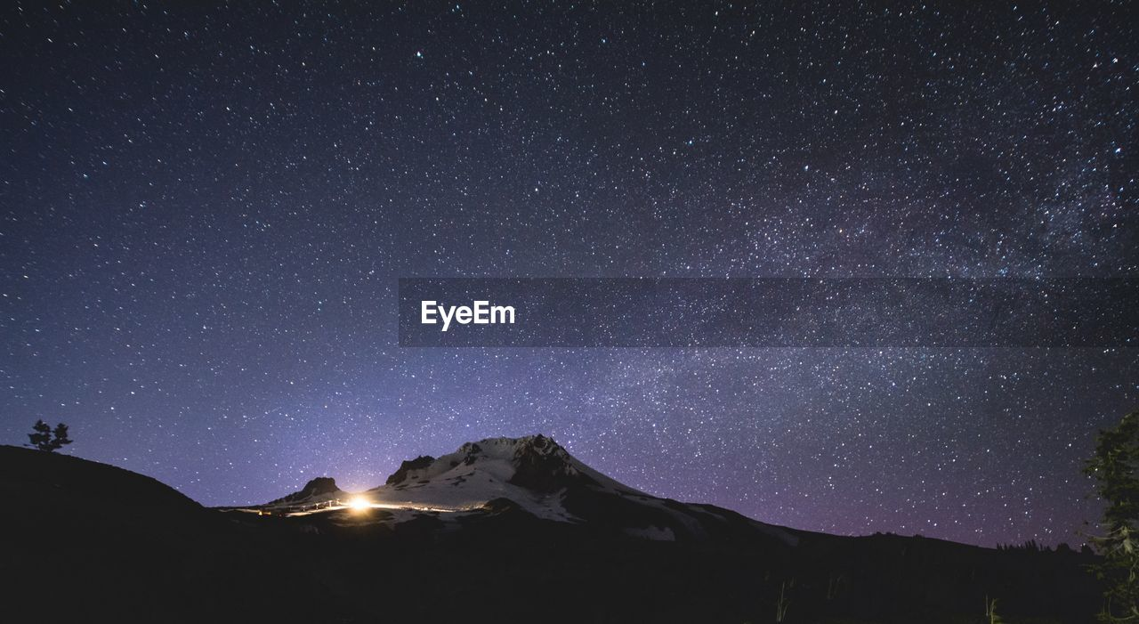 Scenic View Of Snowcapped Mountains Against Star Field At Night