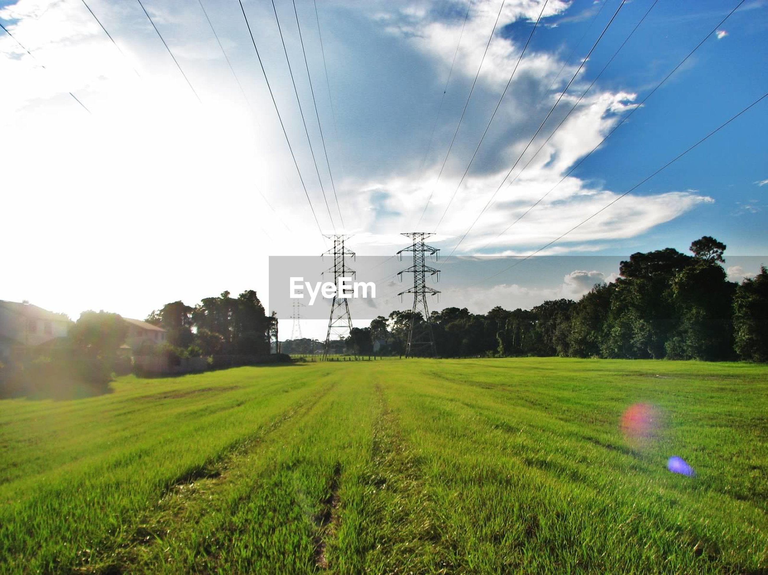Electricity pylons on grassy field during sunny day