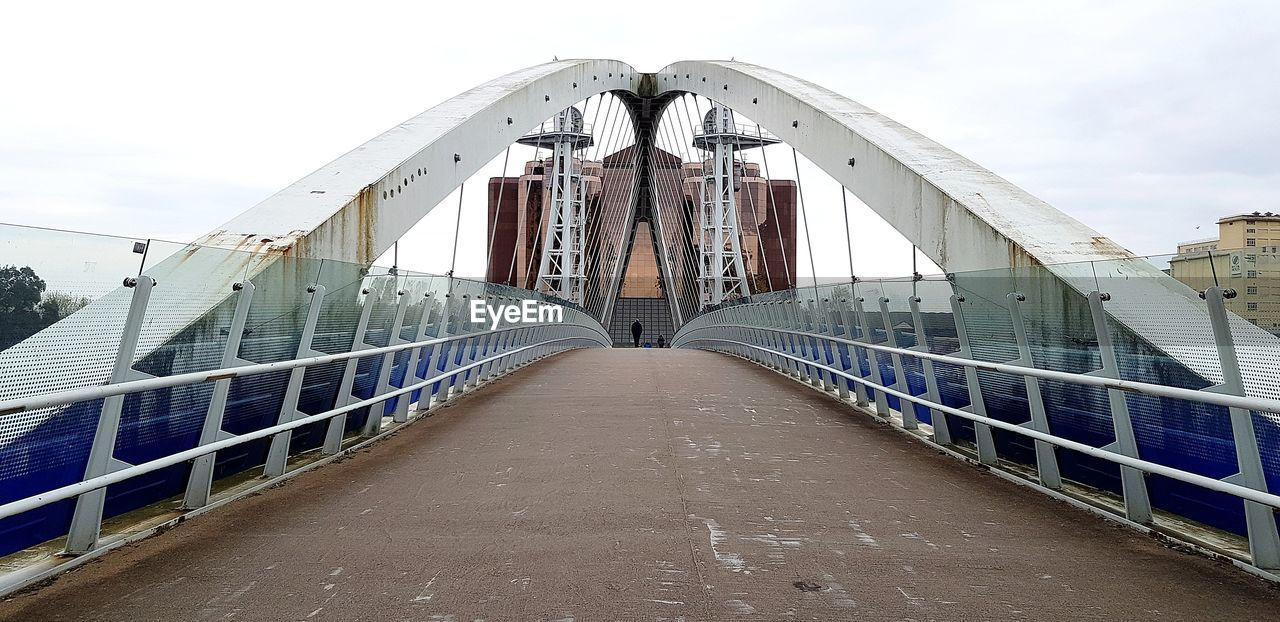 built structure, architecture, the way forward, bridge, direction, bridge - man made structure, sky, diminishing perspective, connection, railing, transportation, footbridge, building exterior, nature, day, vanishing point, no people, cloud - sky, outdoors, long