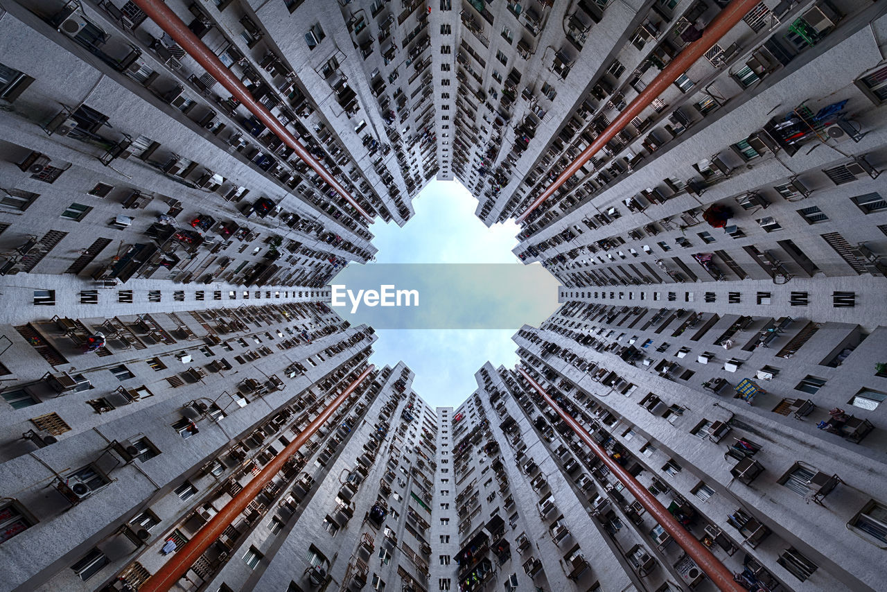 Directly below shot of buildings in city