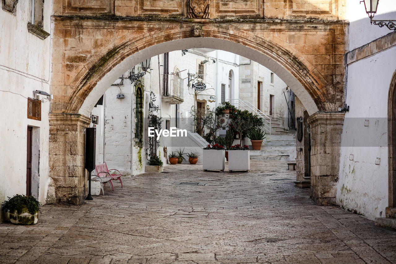 architecture, built structure, arch, building, building exterior, potted plant, no people, day, entrance, direction, arcade, the way forward, door, flooring, outdoors, residential district, nature, architectural column, courtyard, corridor, arched, electric lamp, alley