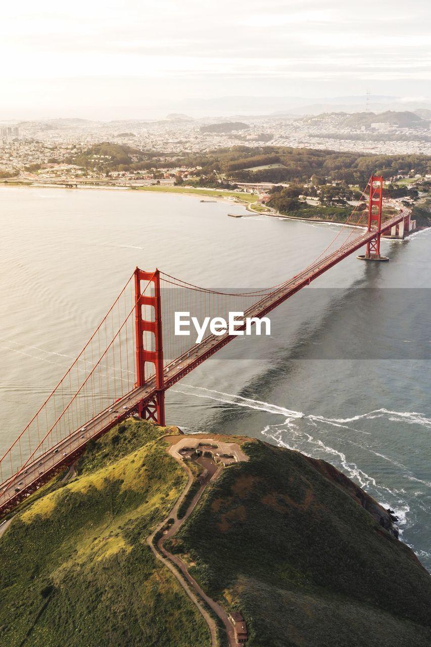 High Angle View Of Golden Gate Bridge Over San Francisco Bay