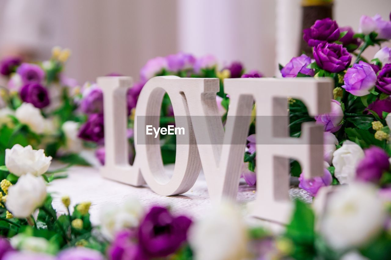 Close-up of love text blocks surrounded by purple roses on table