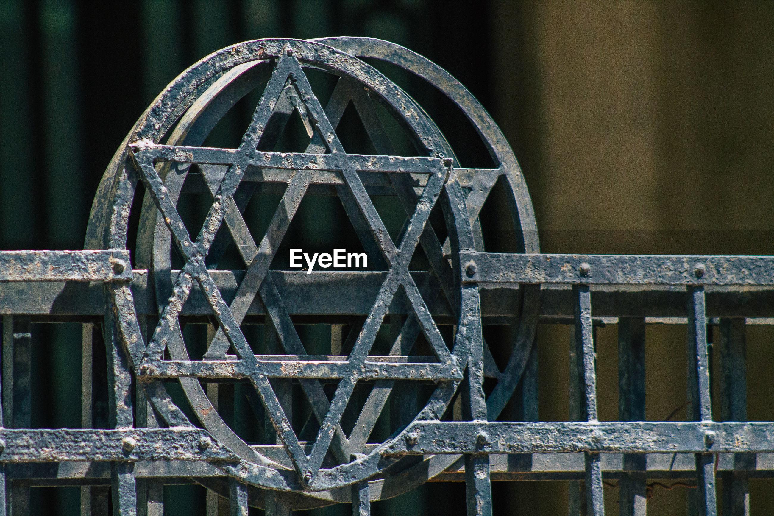 CLOSE-UP OF METALLIC GATE