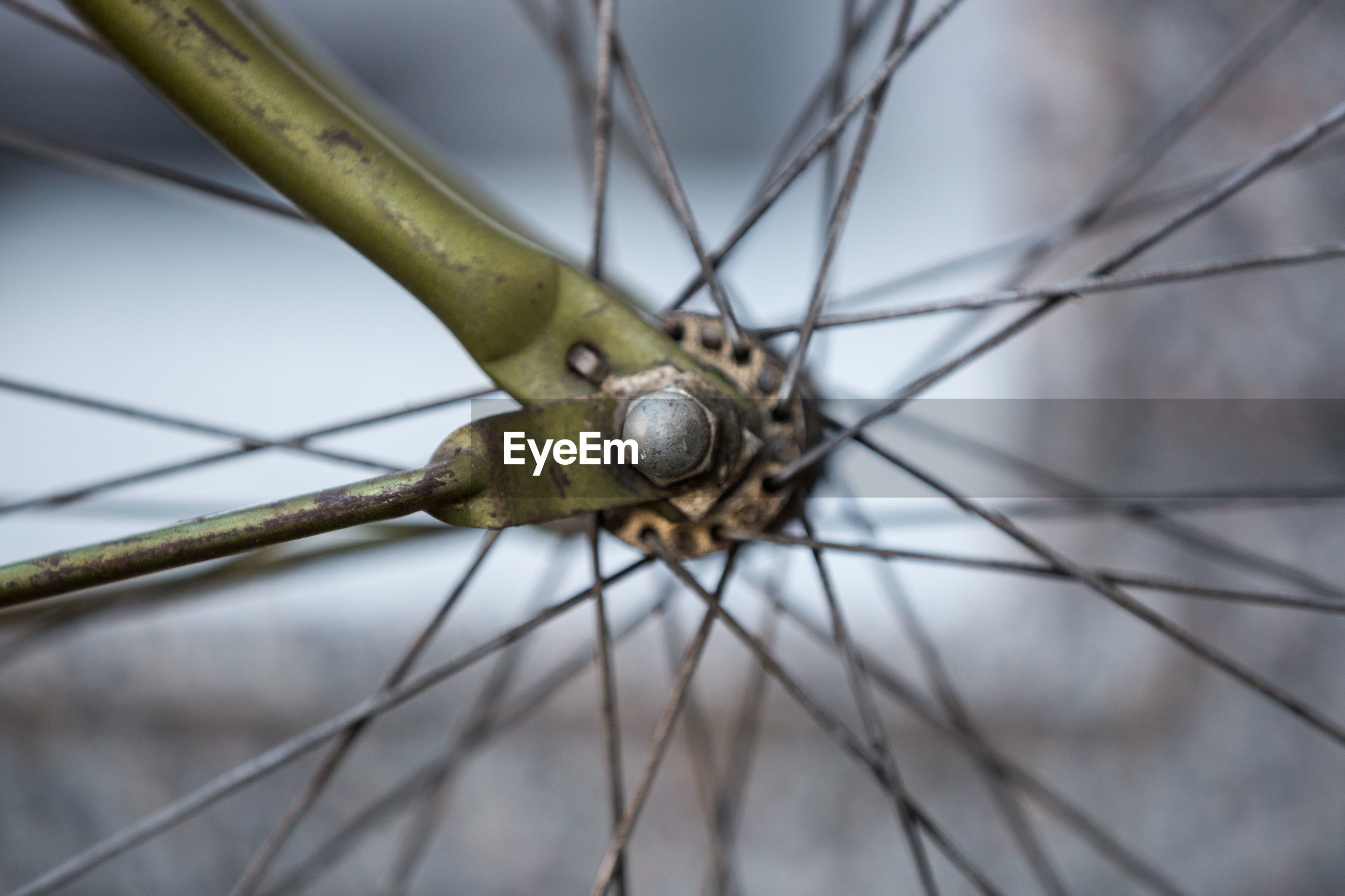 Cropped image of bicycle spoke wheel