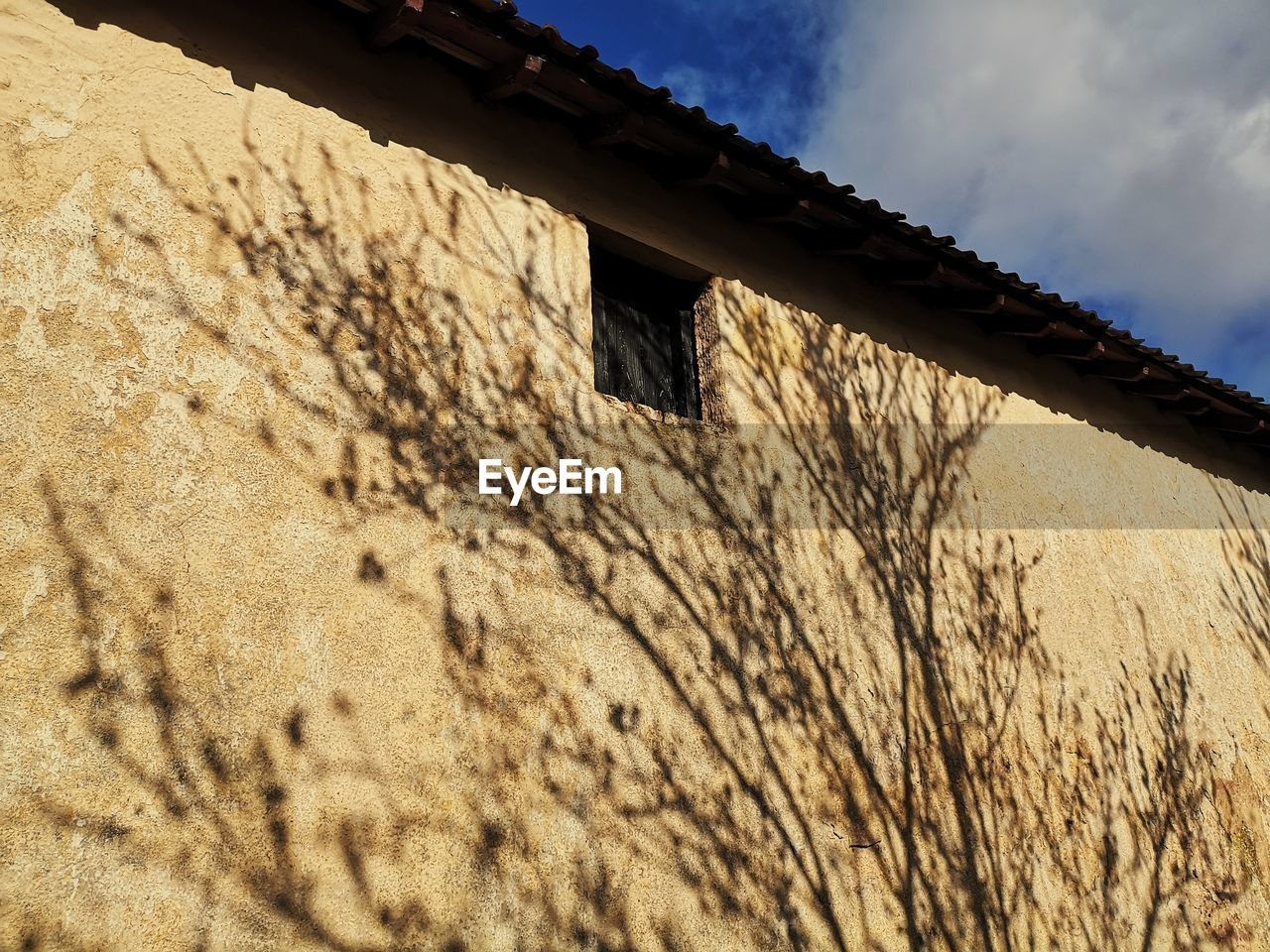 built structure, building exterior, architecture, sky, low angle view, nature, no people, day, building, cloud - sky, wall - building feature, sunlight, house, outdoors, wall, window, old, history, shadow, the past, stone wall