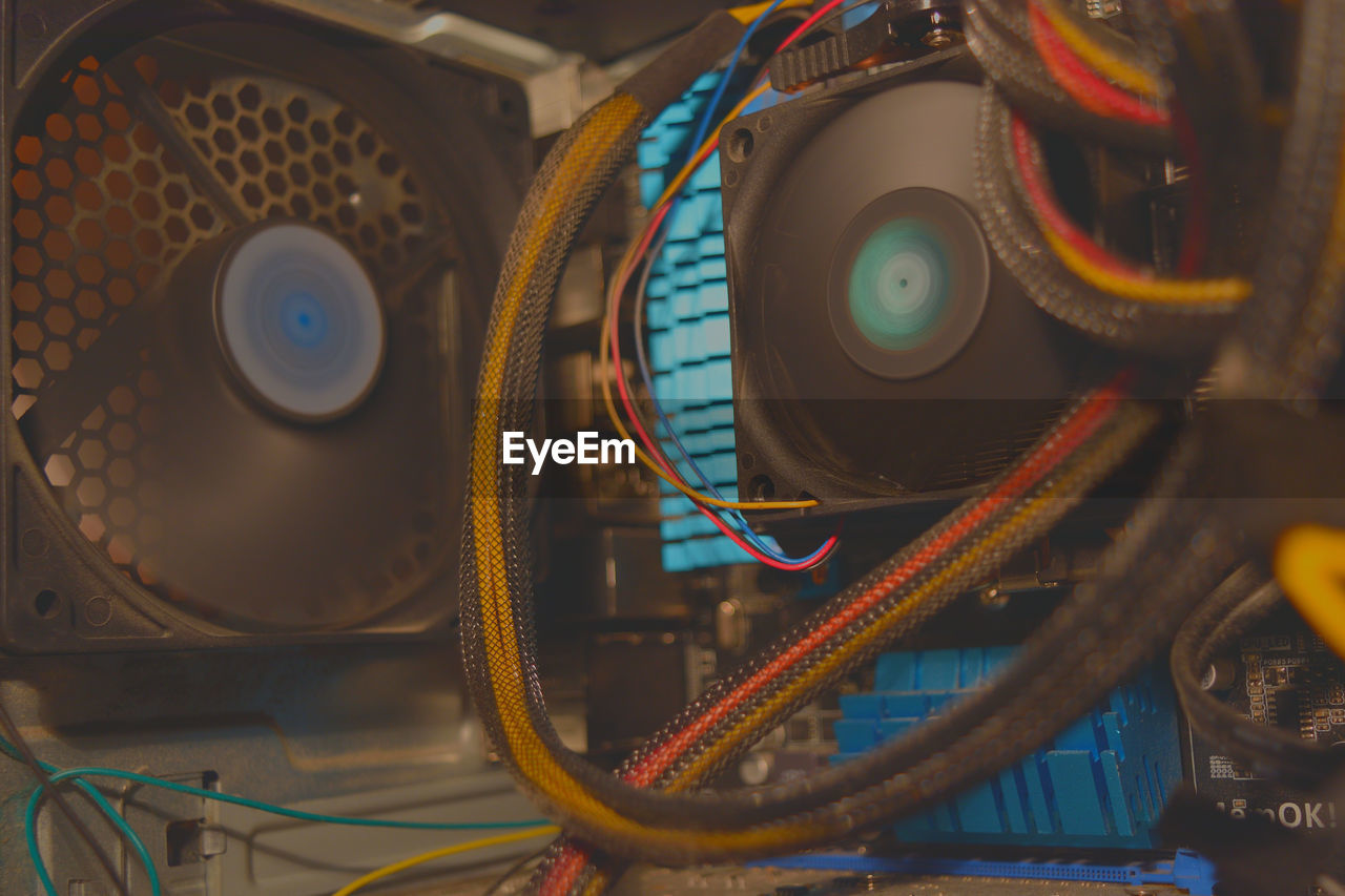 Close-up of cooling fans in computer