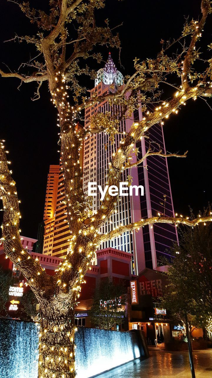 illuminated, night, christmas, christmas decoration, christmas tree, celebration, architecture, christmas lights, building exterior, built structure, tree, low angle view, travel destinations, no people, tradition, tree topper, outdoors, christmas market, city, sky