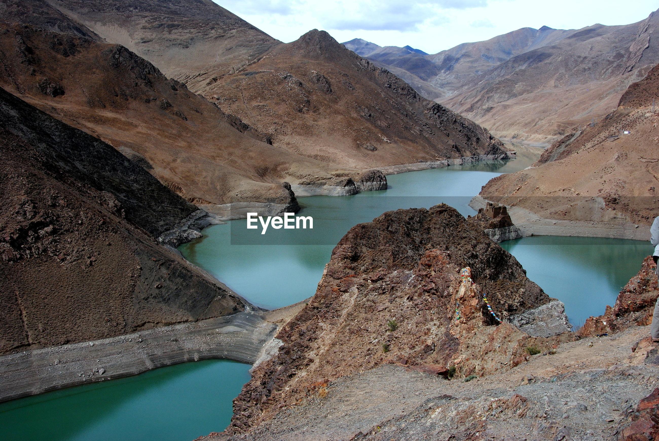 HIGH ANGLE VIEW OF LAKE AND ROCKS
