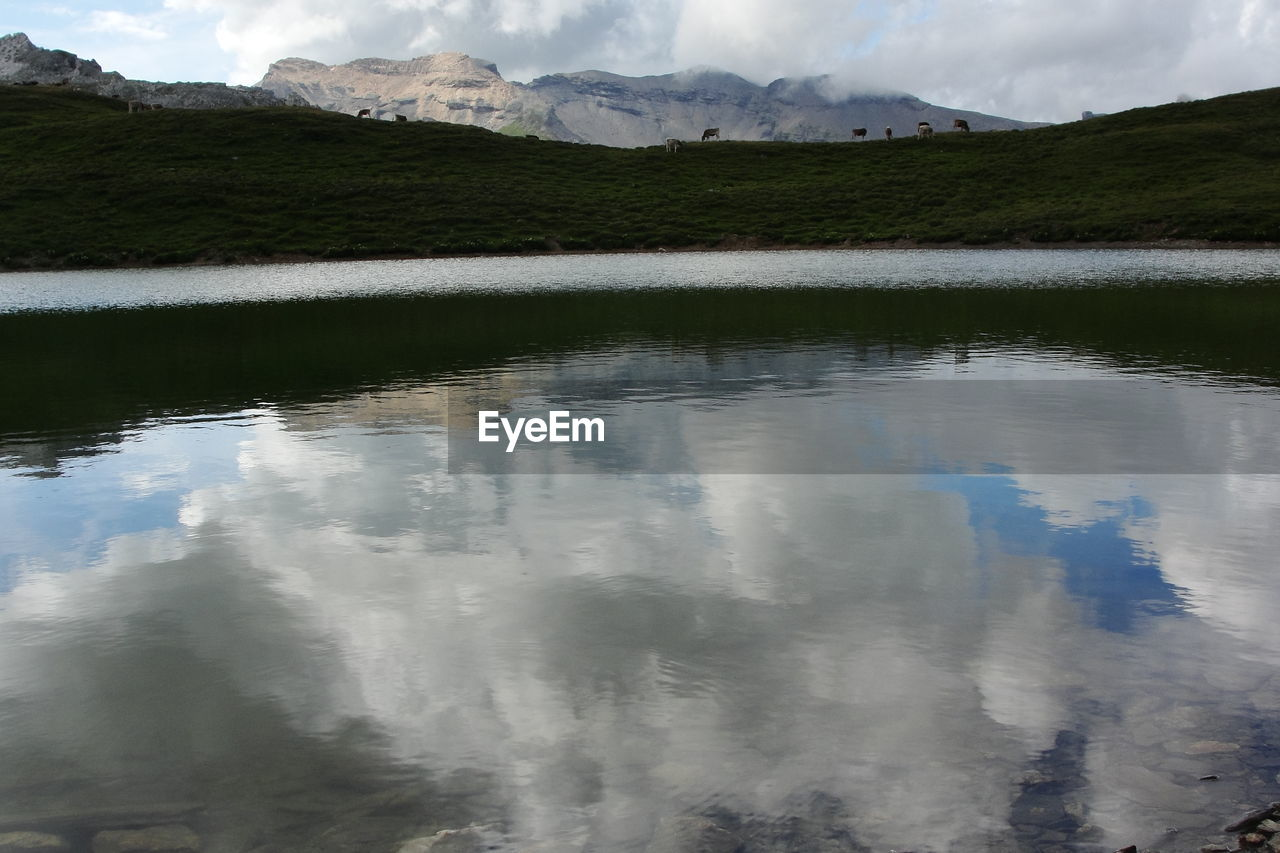 Reflection of clouds in lake water