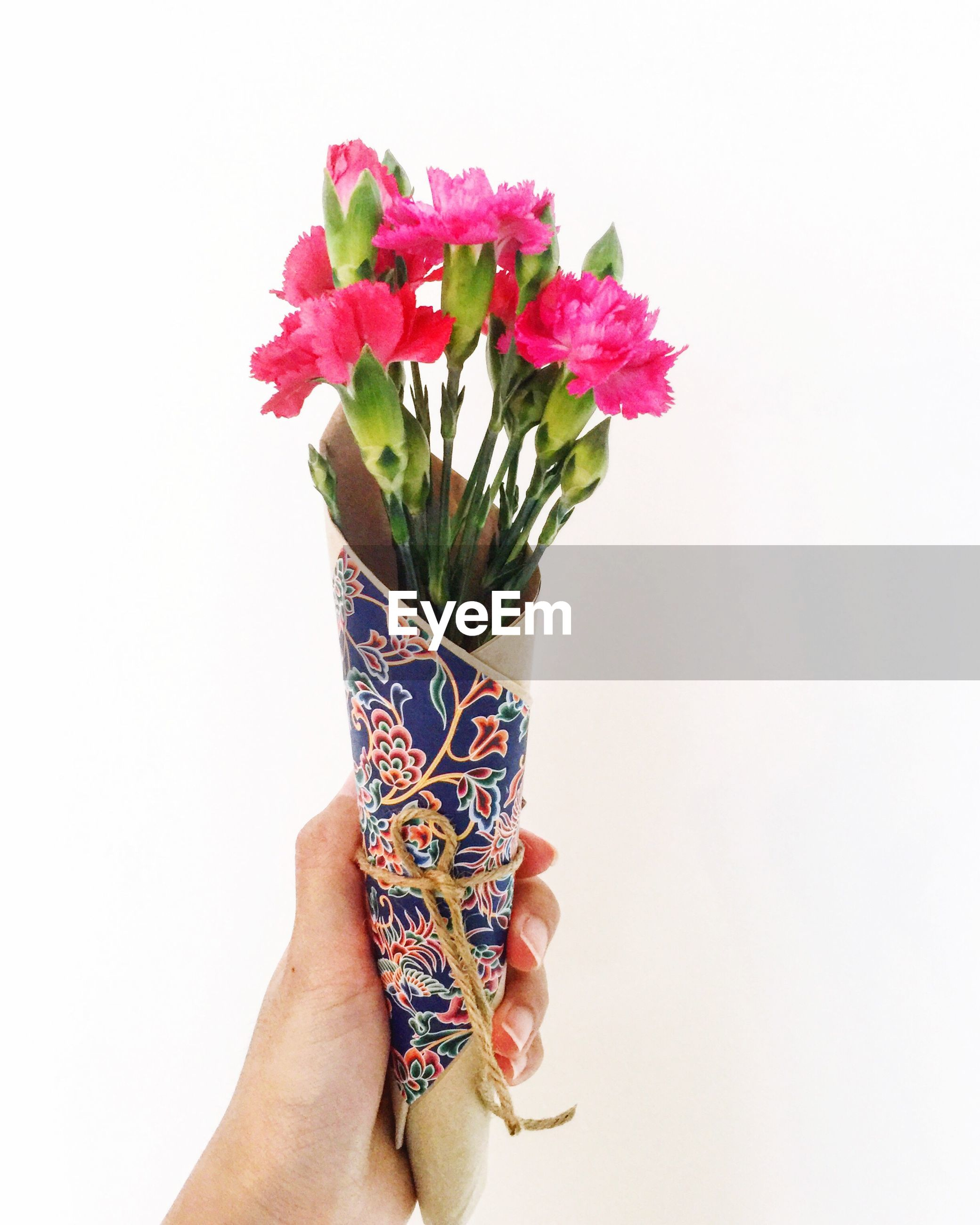 Cropped hand holding bouquet against white background