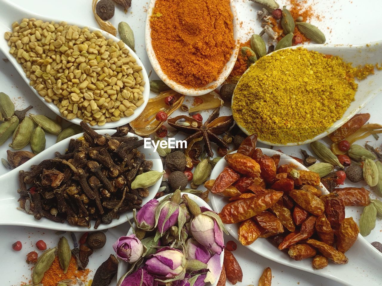 food and drink, food, freshness, spice, choice, indoors, close-up, variation, high angle view, ingredient, no people, still life, vegetable, bowl, turmeric, healthy eating, plate, ground - culinary, wellbeing, indian food, cardamom
