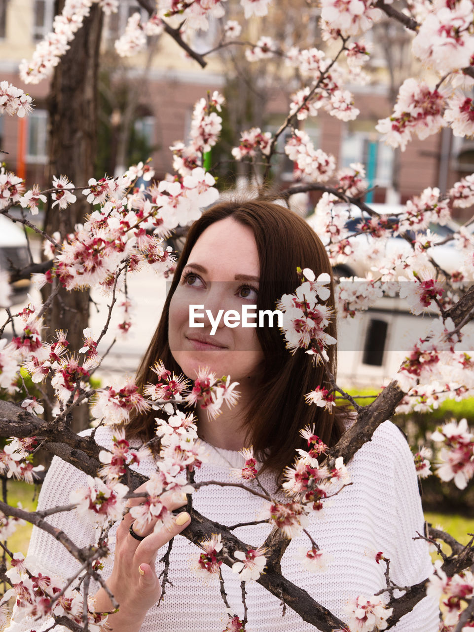 flowering plant, flower, plant, freshness, one person, portrait, tree, fragility, young adult, nature, cherry blossom, young women, blossom, vulnerability, real people, beauty in nature, springtime, pink color, growth, cherry tree, beautiful woman, hairstyle, flower head, outdoors