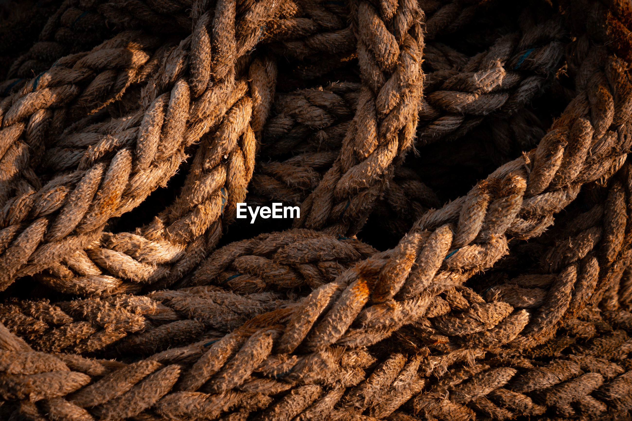 Old rope tangled texture close up