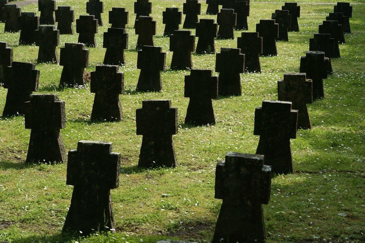 Tombstones on grass
