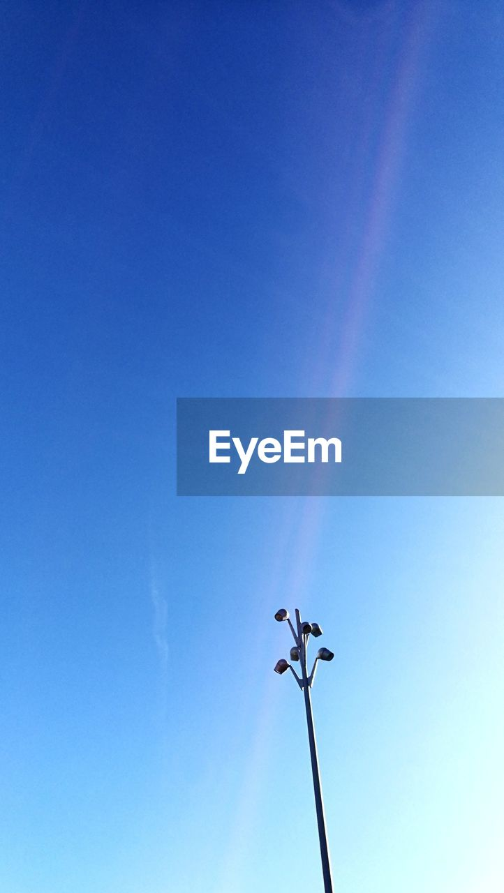 low angle view, blue, day, clear sky, outdoors, no people, weather vane, sky, flying, nature, bird