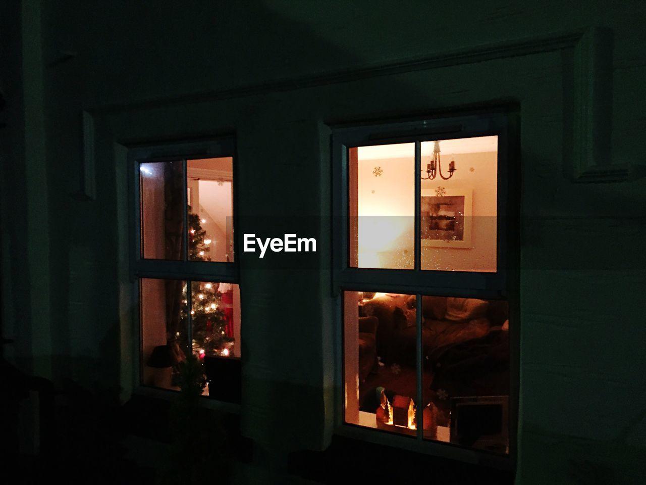window, indoors, door, illuminated, night, architecture, no people, open door