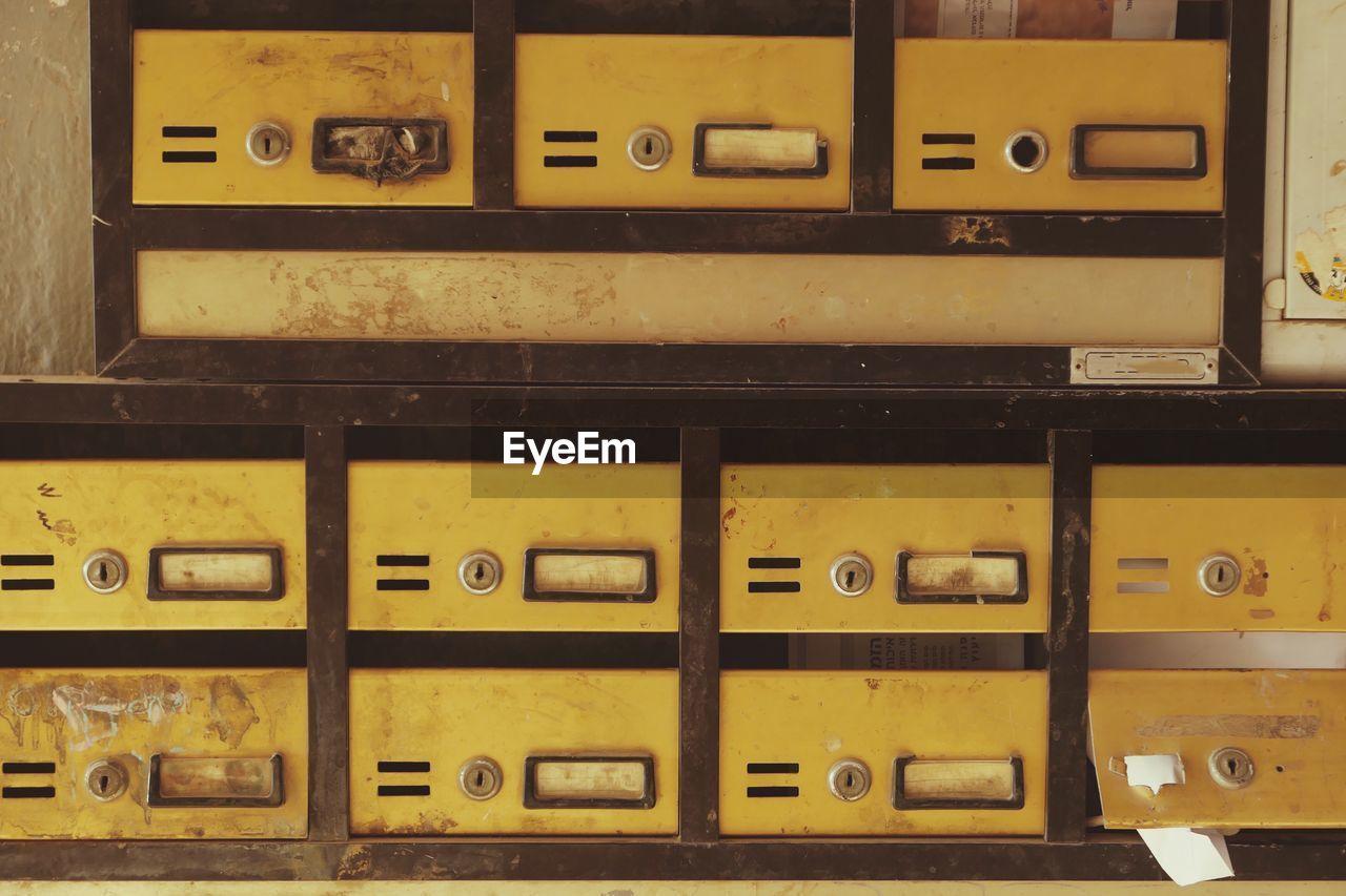 Full Frame Shot Of Old Lockers