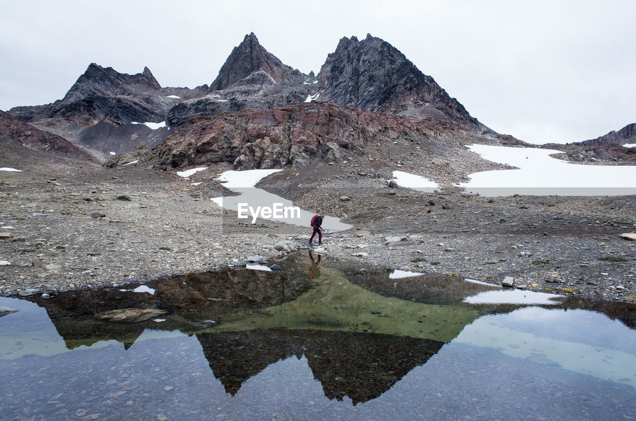 Reflection Of Hiker In Lake Against Sky