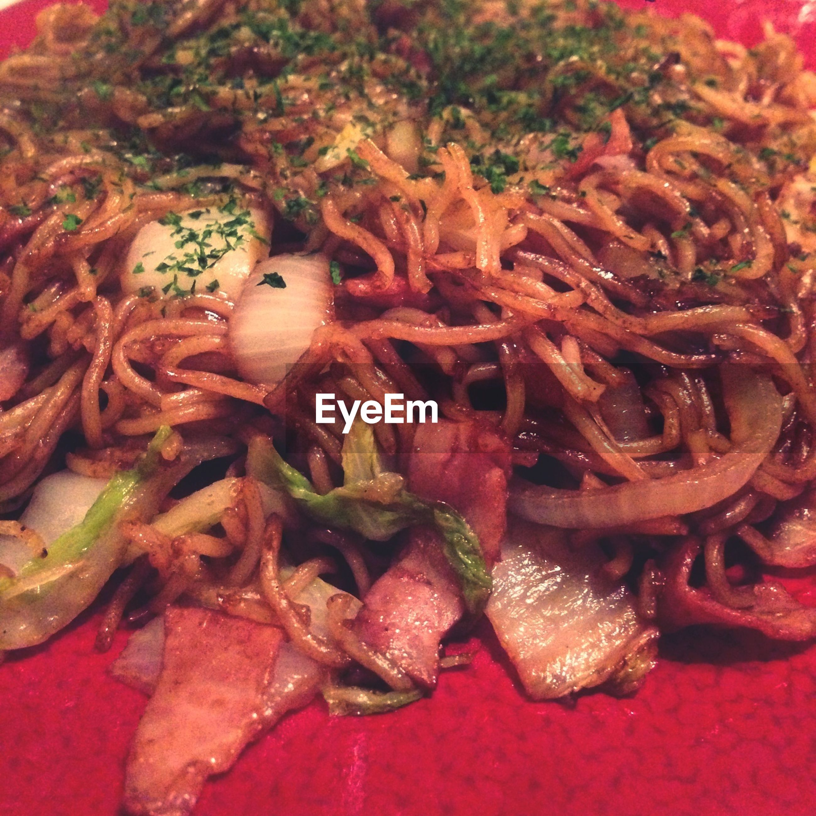 Close-up of served noodles in plate