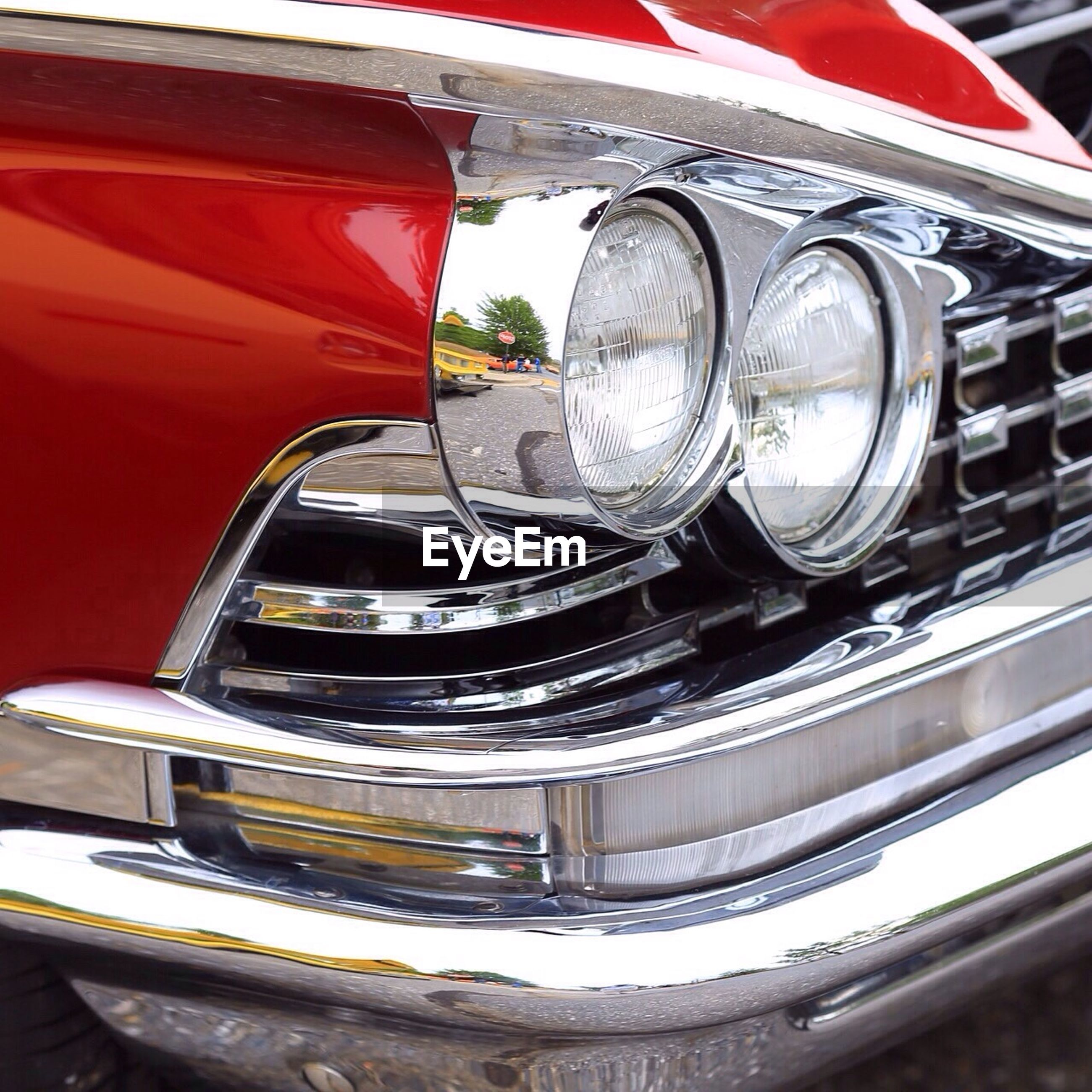 Close-up of vintage car headlight