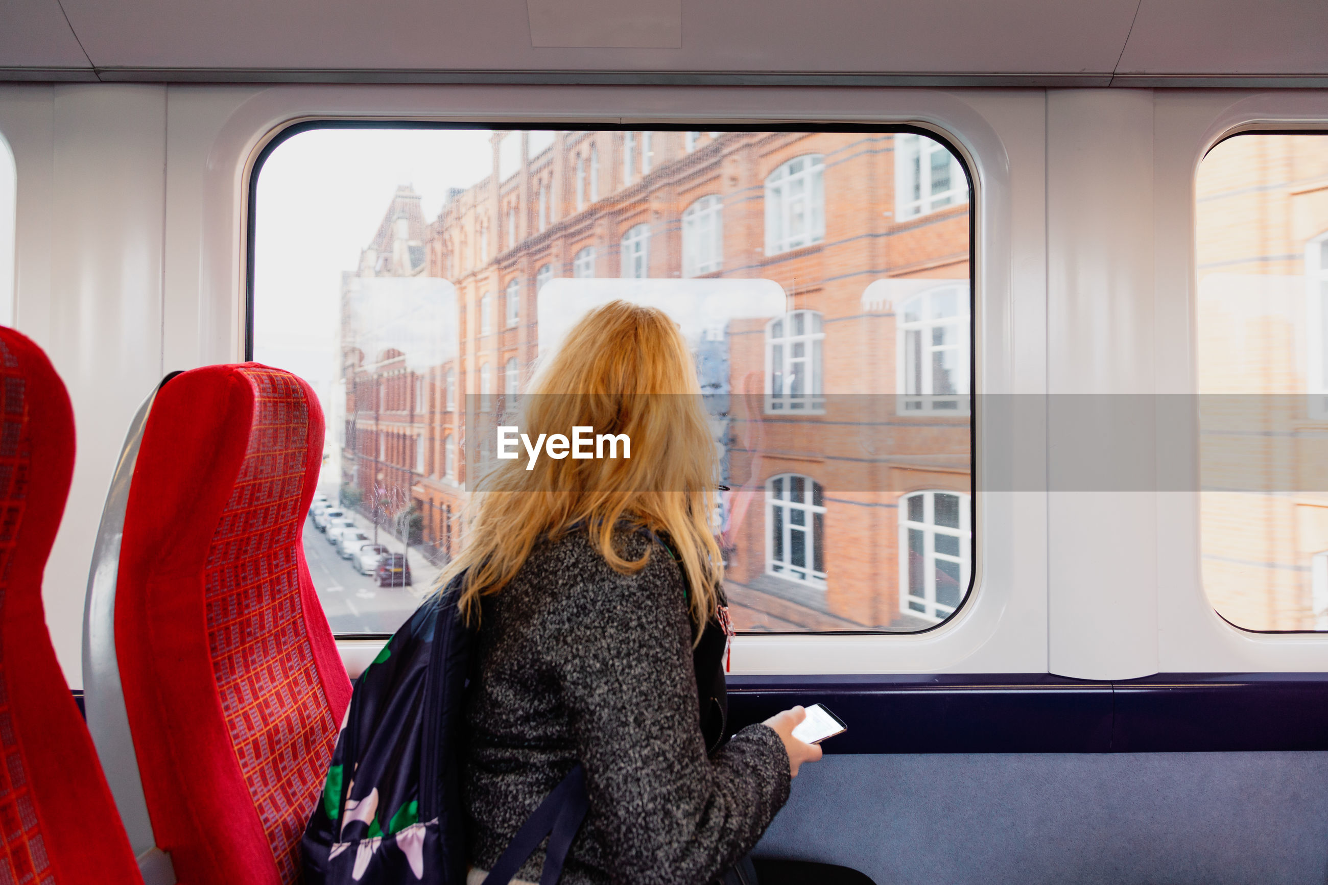 Rear view of woman looking through window in train