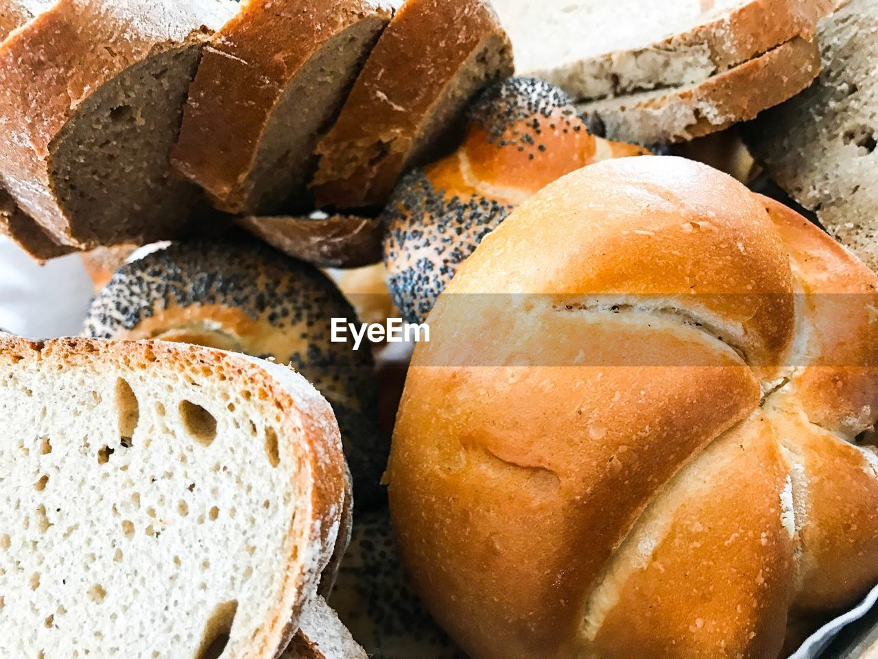 Close-up of breads on table
