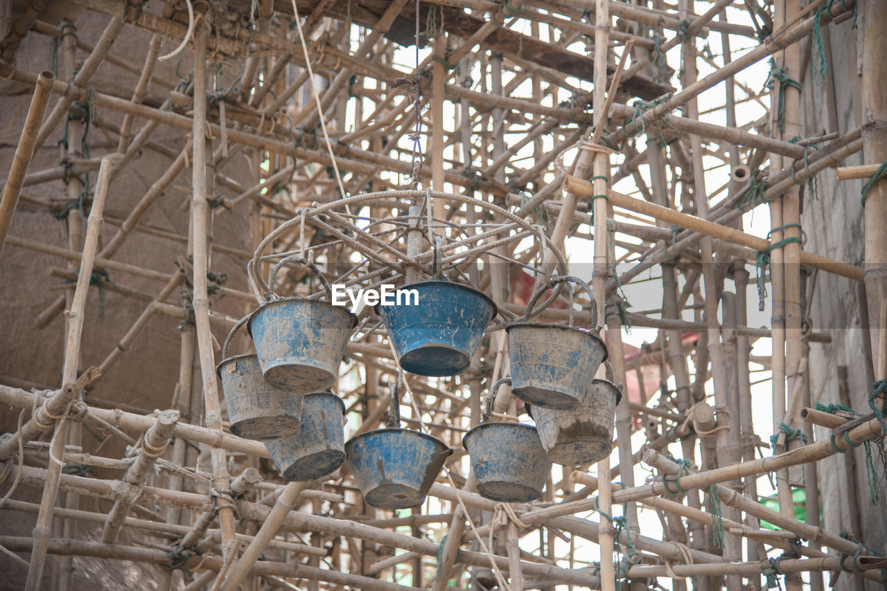 Low Angle View Of Buckets In Construction Site