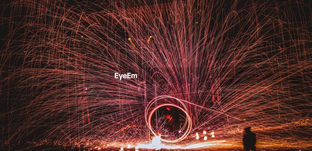 Person spinning wire wool