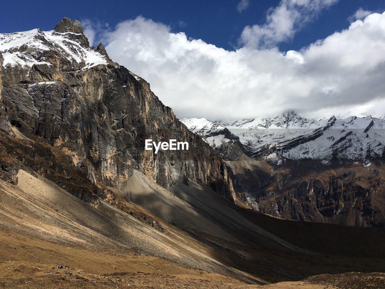 Snowcapped Mountain And Desert Landscape