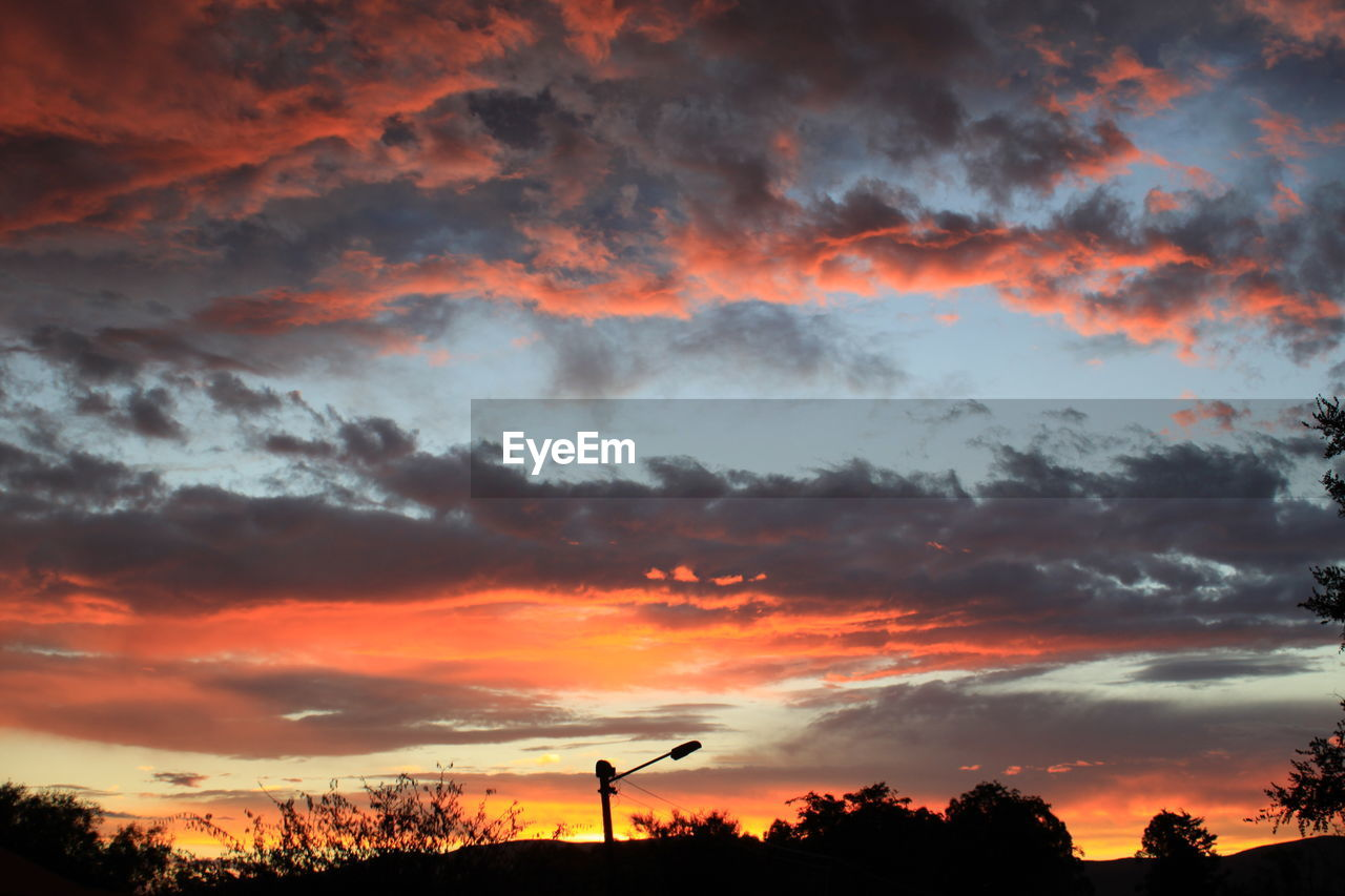 cloud - sky, sunset, sky, orange color, beauty in nature, scenics - nature, silhouette, nature, tree, dramatic sky, tranquility, tranquil scene, plant, no people, idyllic, outdoors, low angle view, non-urban scene, environment, romantic sky