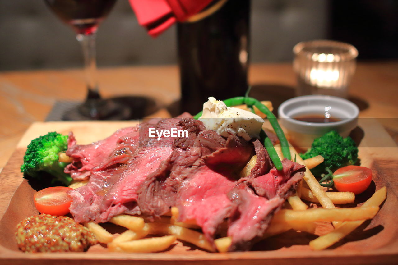 Close-Up Of Roast Beef On Table