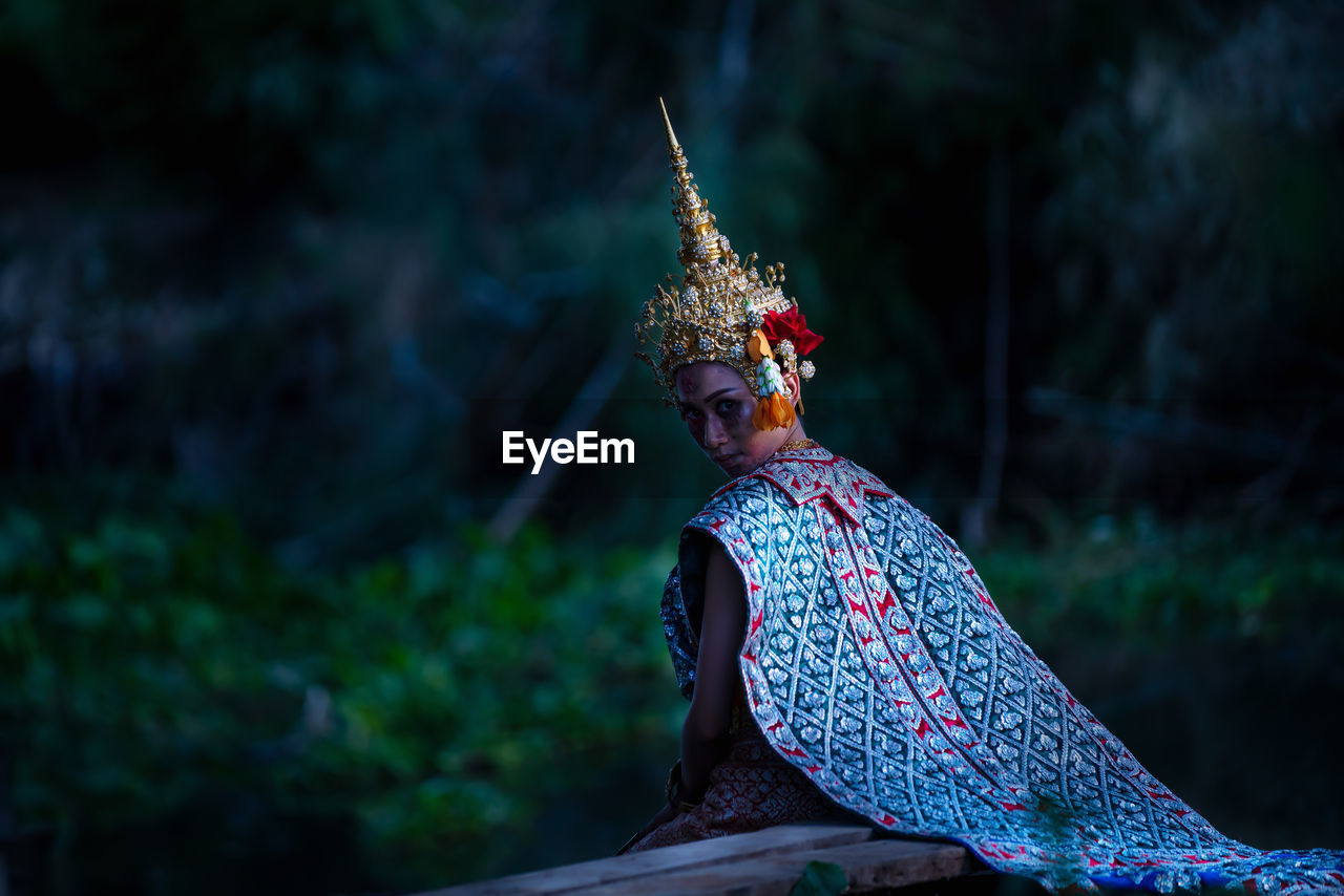 Thai ghost in traditional costume that appear in history, portrait of asian woman make up ghost